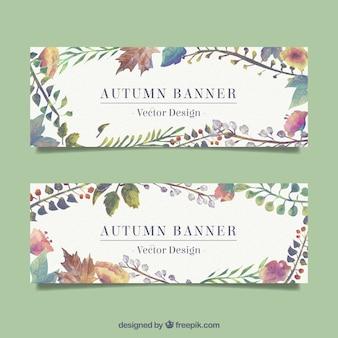 Watercolor autumn banner set
