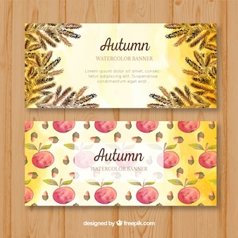 Watercolor autumn banners
