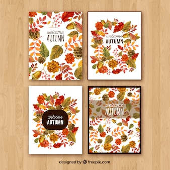 Watercolor autumn cards with cute style