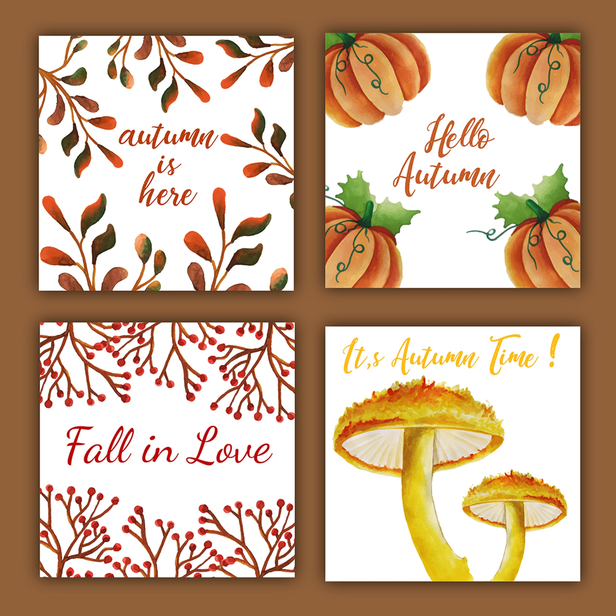 Watercolor Autumn Cards with Red, Orange, Yellow and Green Leaves