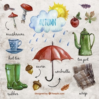 Watercolor autumn essentials