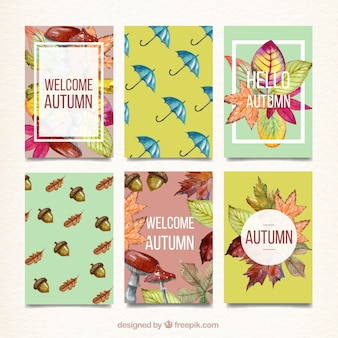 Watercolor autumn flyer collection