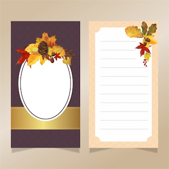 Watercolor autumn leaves invitation card template with golden ribbon