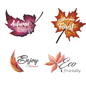 Watercolor Autumn Logo Collection with Yellow, Orange and Green Leaves