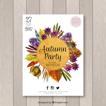 Watercolor autumn party poster