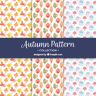 Watercolor autumn patterns with lovely style