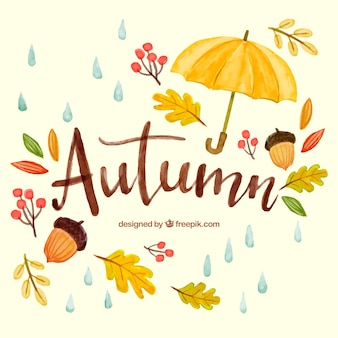 Watercolor autumnal backgorund