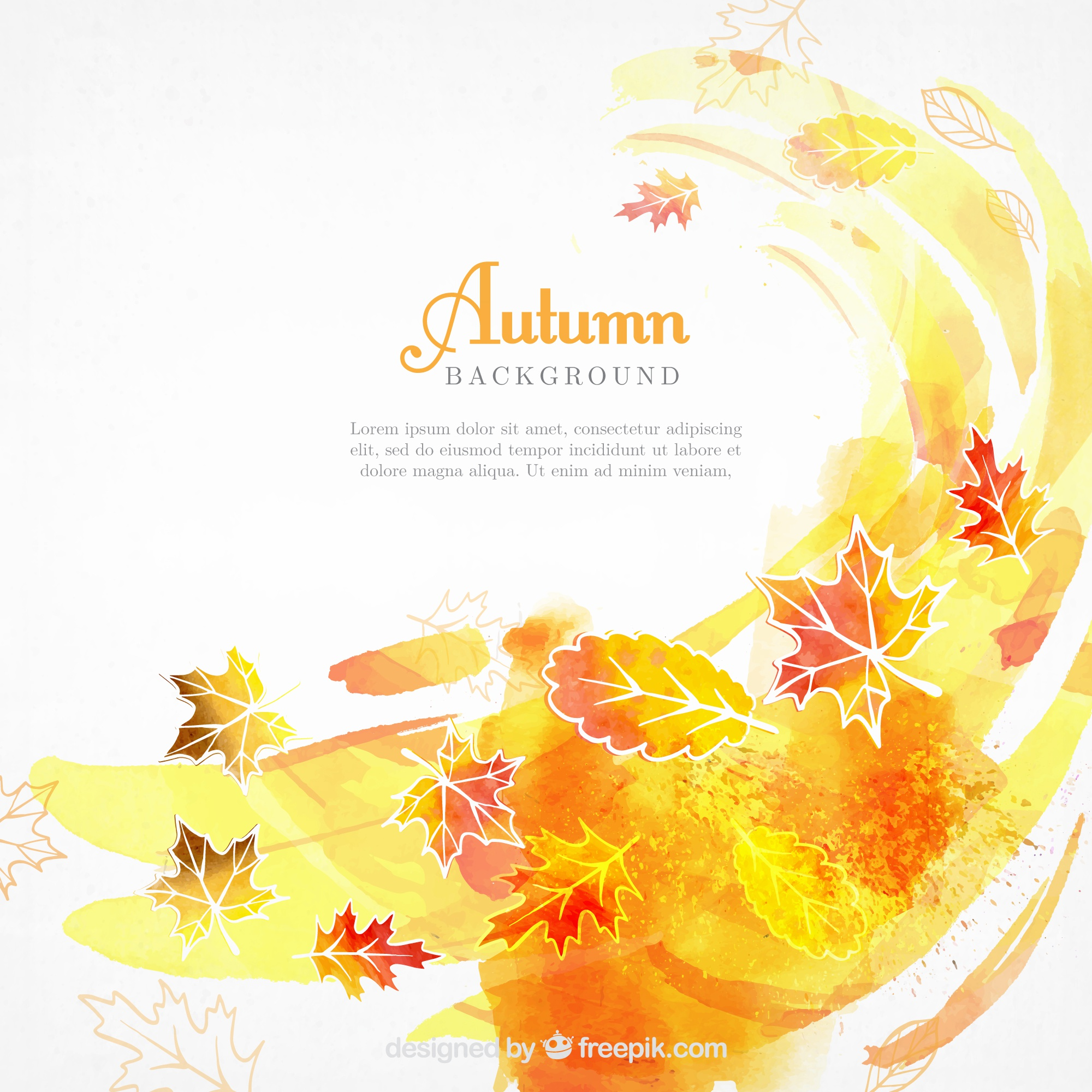 Watercolor autumnal background with abstract style