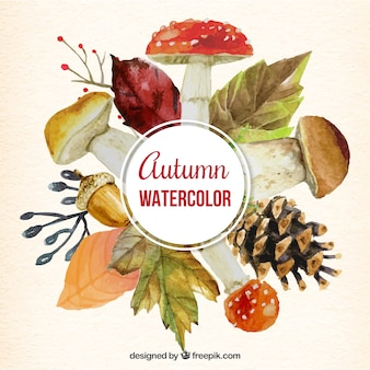 Watercolor autumnal nature background