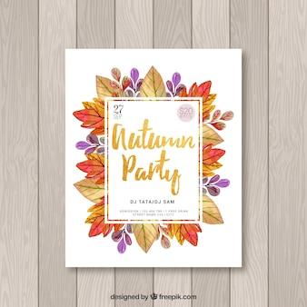 Watercolor autumnal party poster