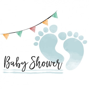 Watercolor baby shower card for boy