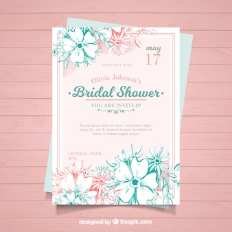 Watercolor bachelorette invitation with pink and blue flowers