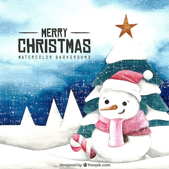 Watercolor background and snowman with christmas tree
