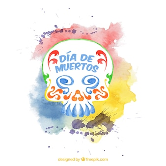 Watercolor background for day of the dead