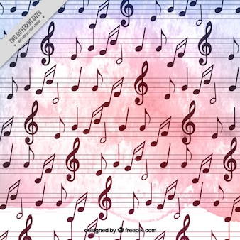 Watercolor background full musical notes
