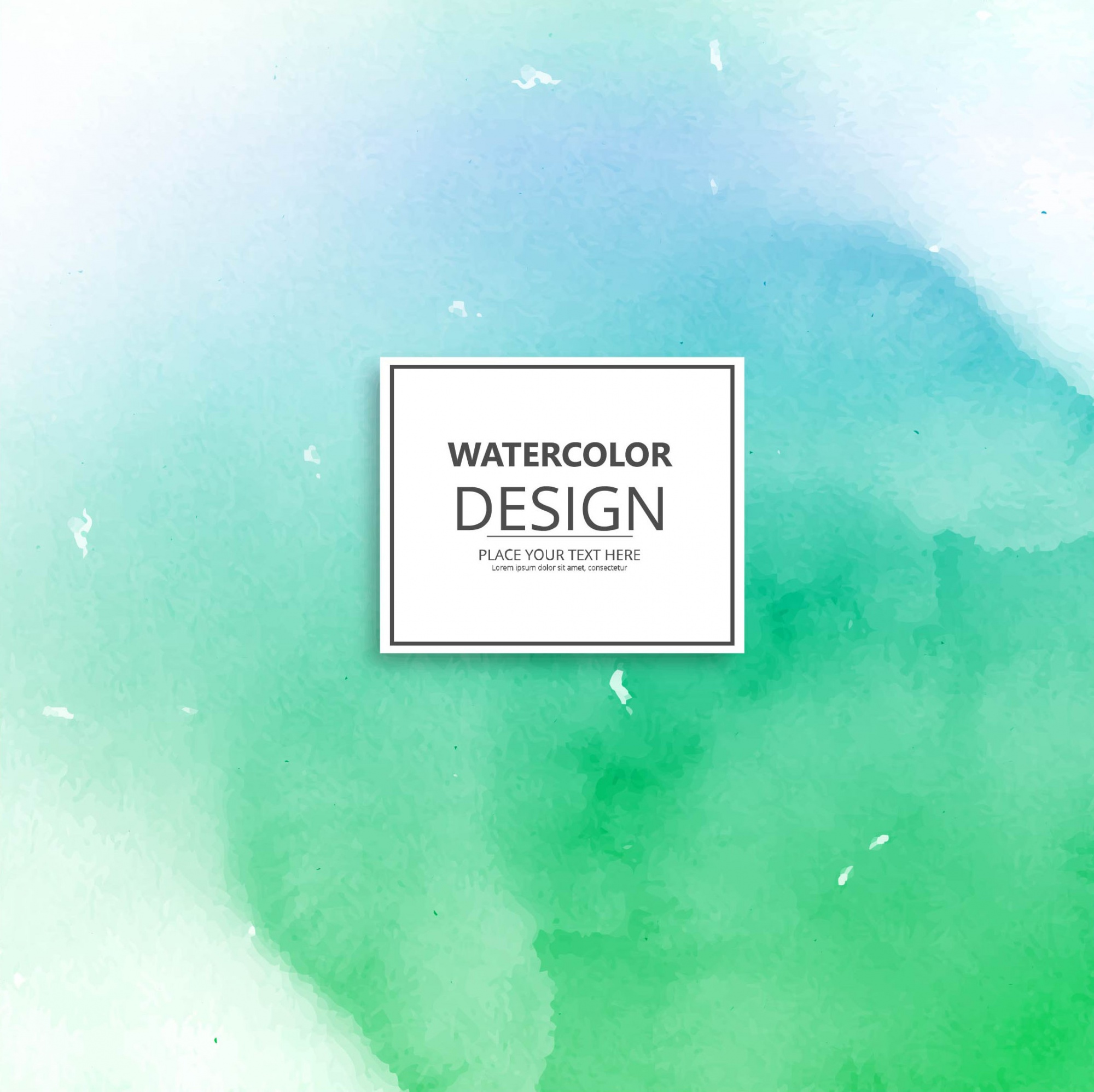 Watercolor background in green and blue tones