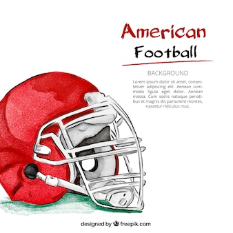 Watercolor background of american football helmet