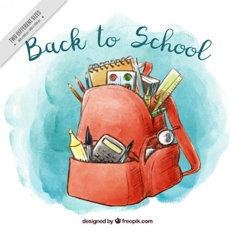 Watercolor background of backpack with materials