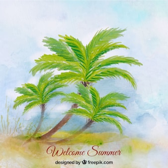 Watercolor background of beach with palm trees