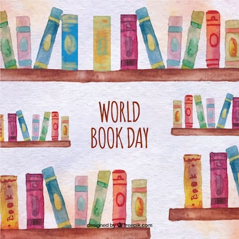 Watercolor background of bookshelves with books