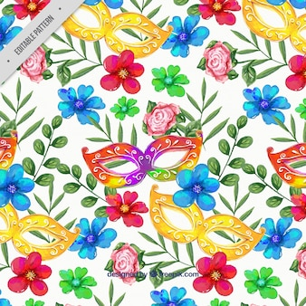 Watercolor background of carnival masks with flowers