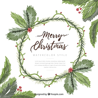 Watercolor background of christmas wreath with mistletoe