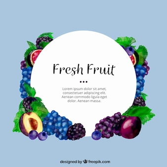 Watercolor background of colored fruits