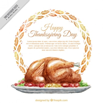Watercolor background of dish with thanksgiving tasty turkey