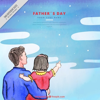 Watercolor background of father with his daughter looking at the sky