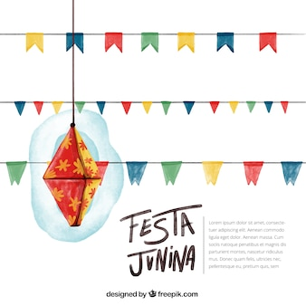 Watercolor background of festa junina with decoration