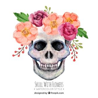 花の頭蓋骨の水彩画の背景