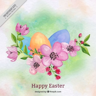 Watercolor background of happy easter with flowers