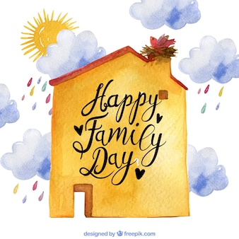 Watercolor background of house and clouds for family day