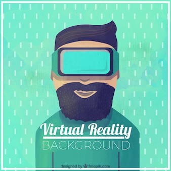 Watercolor background of man with virtual reality glasses