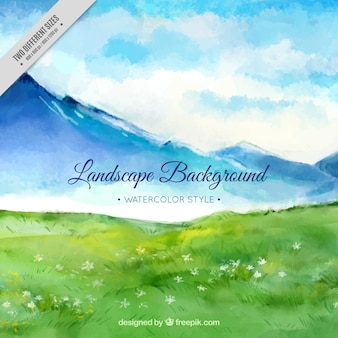 Watercolor background of mountainous landscape with meadow