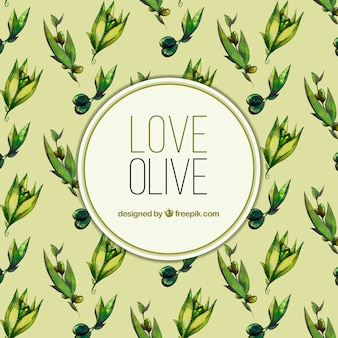 Watercolor background of olive oil
