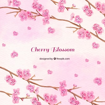 Watercolor background of pink flowers branches