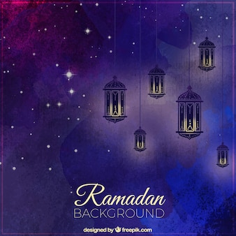 Watercolor background of ramadan with lanterns and stars
