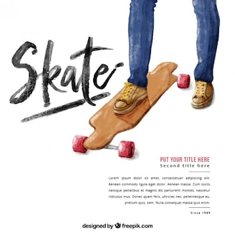 Watercolor background of skate
