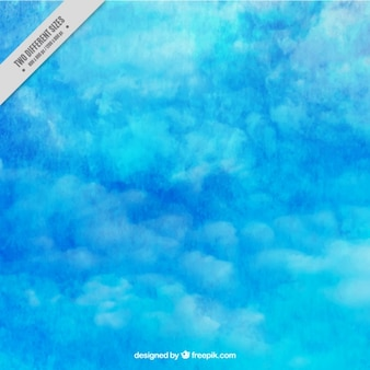 Watercolor background of sky in blue tones