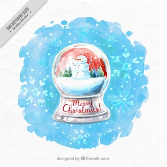 Watercolor background of snowglobe with snowman