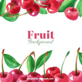 Watercolor background of tasty cherries