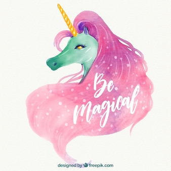 Watercolor background of unicorn and text