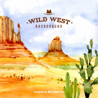 Watercolor background of wild west