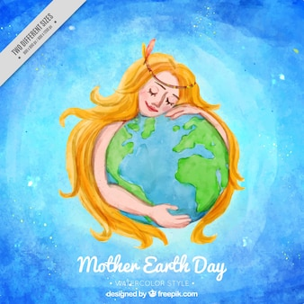 Watercolor background of woman embracing the earth
