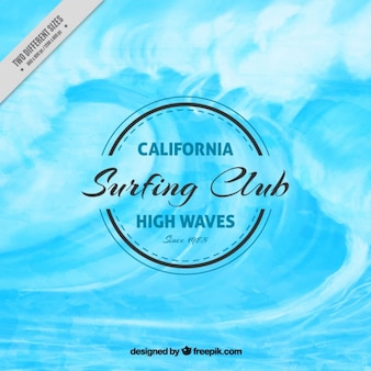 Watercolor background with a big wave