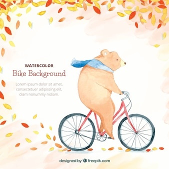 Watercolor background with bear riding bike