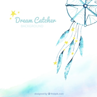 Watercolor background with blue dreamcatcher