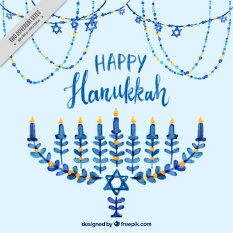 Watercolor background with candelabra for hanukkah