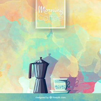 Watercolor background with coffee maker and cup